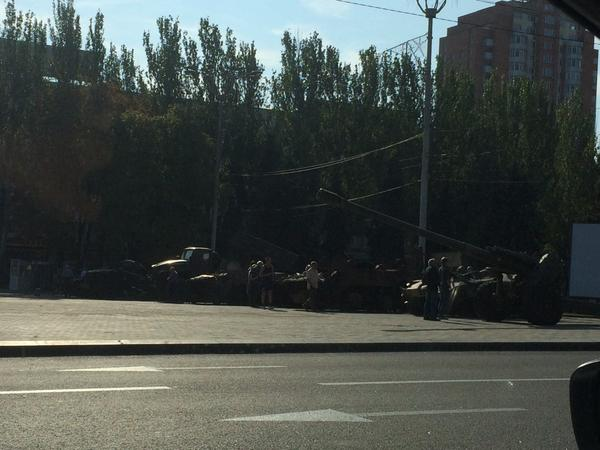 Donetsk separatists' anti-Independence Day display of captured Ukraine military hardware on Lenin Square
