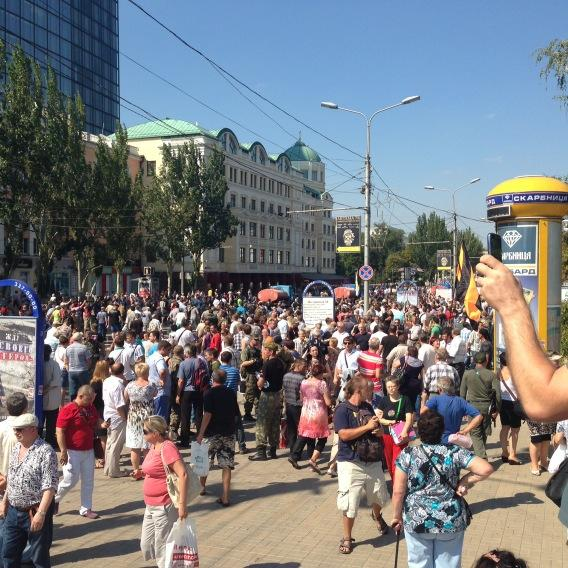 Donetsk rebels just marched about 100 POWs in the center. Everyone yelling 'fascists'