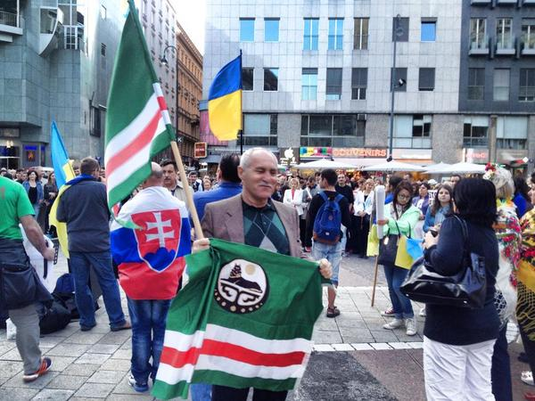Chechens in Viena at celebration of Independance Day of Ukraine