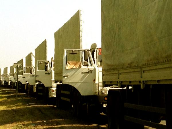 Humanitarian convoy Trucks will load the products in Voronezh, Azov, Moscow, Rostov-on-Don, and again will go to the Donbass