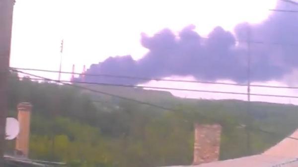 Plant burning in Makiivka