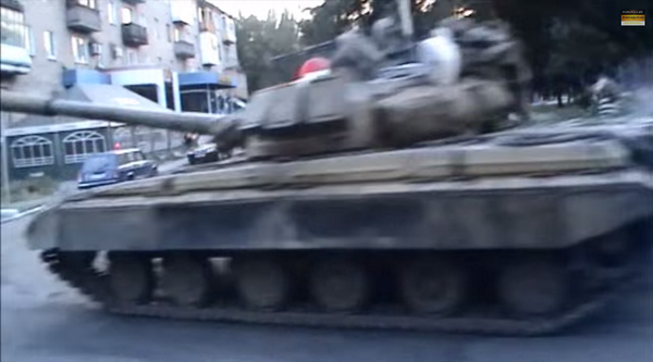 6 Russian T-72s, 1 T64 & yellow bus now spotted in Donetsk.