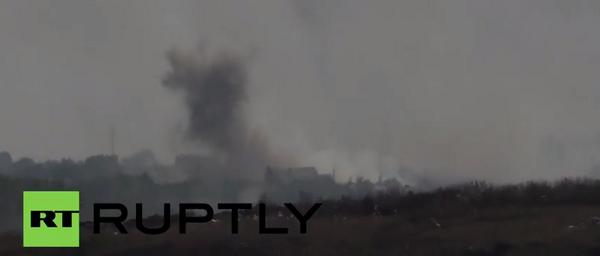 Smoke rise after shelling Novoazovsk