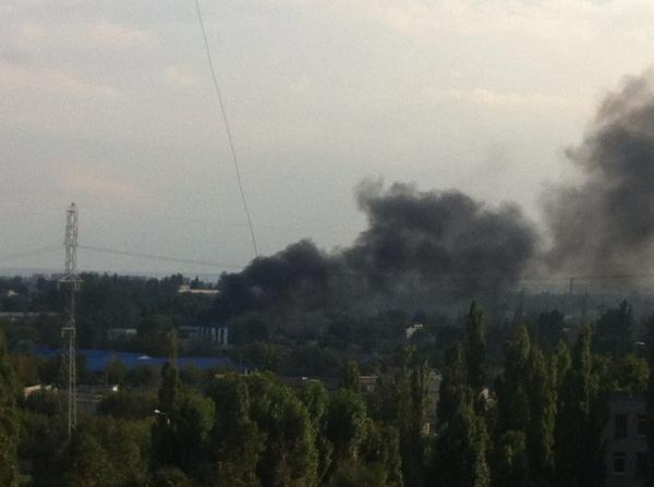 Kharkiv. In the area of meat factory something is burning. Possible power station