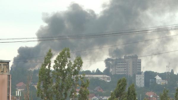 Donetsk city center up in flames