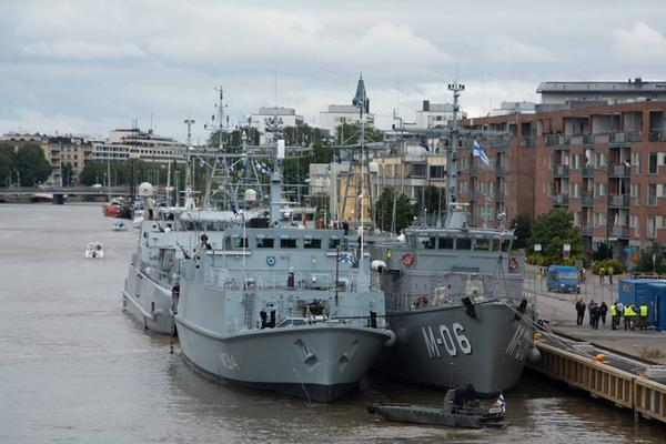 Standing NATO Mine Countermeasures Group 1 in port of Turku, Finland preparing for Exercise Northern Coasts 2014