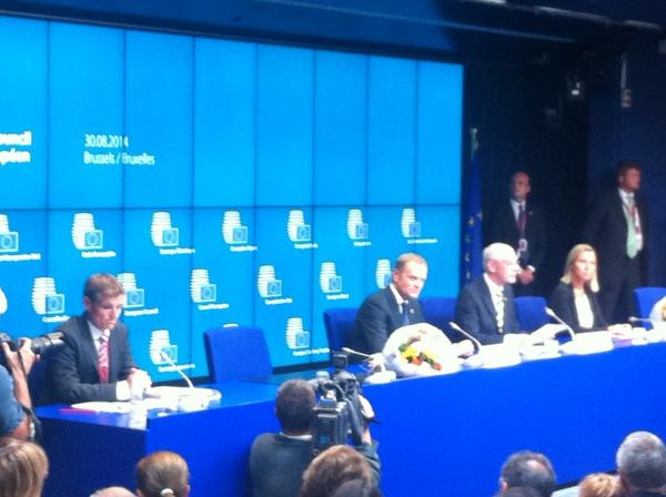 President Van Rompuy w next President of EUCO Tusk & next HRVP Mogherini press conference, Brussels, now