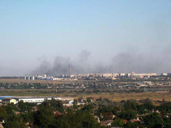 Burning fields near Mariupol