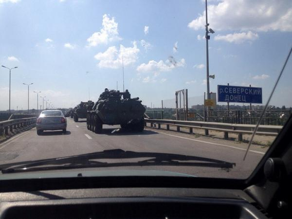 Column of BTR-80  in Kamensk-Shakhtinsky