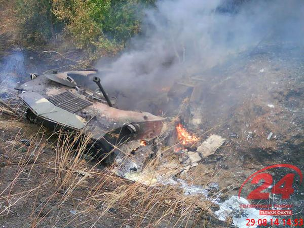 Burning vehicles of Russian army