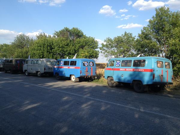 Starobesheve.Ukr convoy agreed w/rebels to take wounded.Then firefight broke out in nearby village