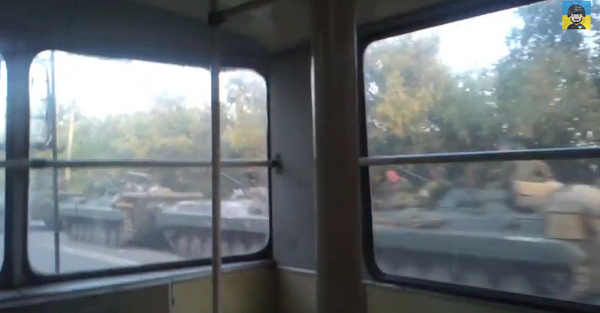 Massive column of Russian armour on the move near Luhansk