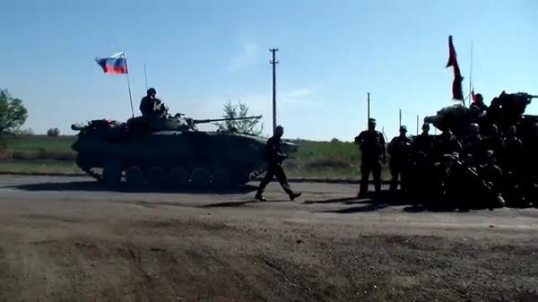 Russian troops in Heorhiivka near Lutuhyne