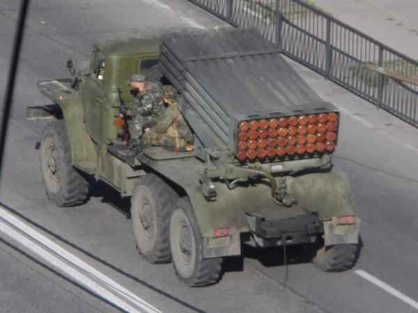 4 MLRS GRAD passed Makiivka in the direction of Khartsyzsk