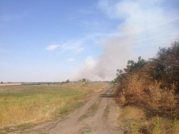 Smoke rising and sounds of shelling from what we think is the village of Kominternove