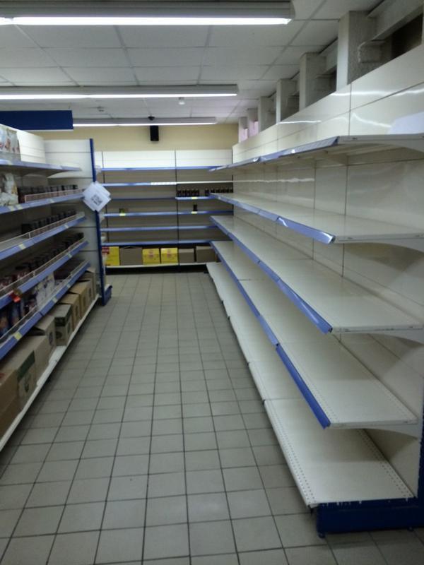 Empty shop shelves in Makiivka
