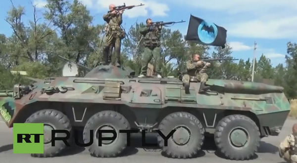 Russian GRU Spetsnaz elite military formations in Shakhtarsk,Ukraine