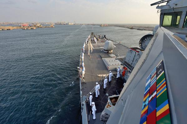 Arleigh Burke-class guided-missile destroyer USS Ross enters Constanta, Romania
