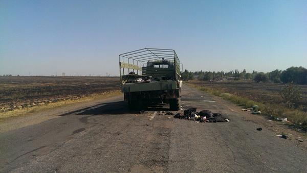 Burned vehicles near Tel'manove