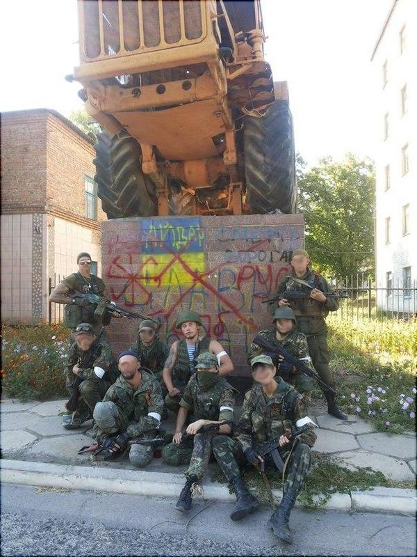 Russians branded a Ukrainian painted with Nazi symbol,the Black Sun