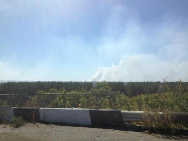 Ceasefire smoke rising in vicinity of Schastia - Ukrainian army controlled town in Luhansk region