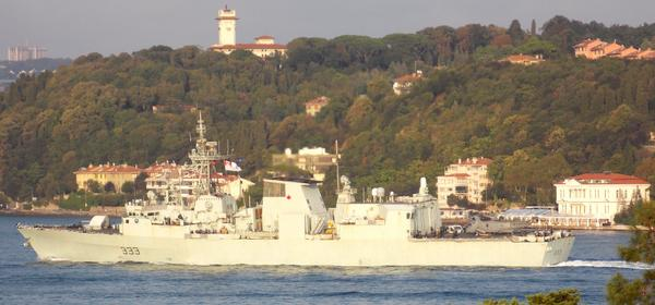 Halifax-class frigate HMCS Toronto FFH 333 crossing Bosphorus, entering Black Sea