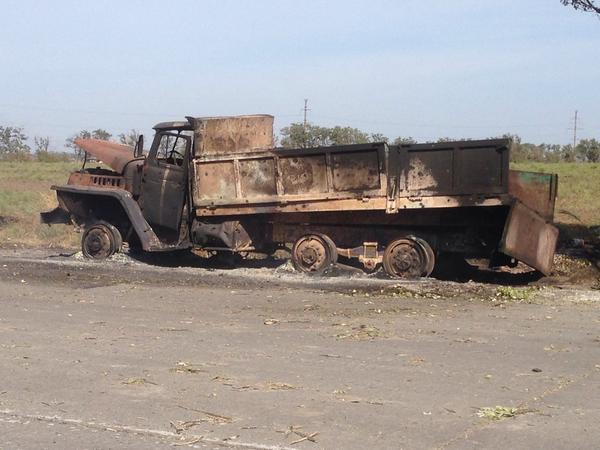 The Kamaz truck burned after the night shelling in Mariupol