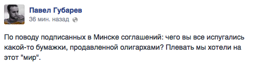 Gubarev of DNR: We don't care about this peace