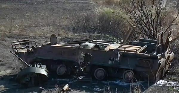 Destroyed Russian APC BTR-82A near Novosvitlivka