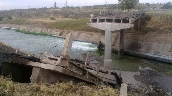 Destroyed bridge in Pavlopol