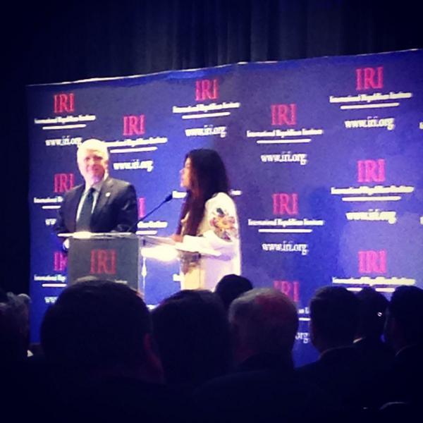 Ruslana and @SenJohnMcCain on stage at @IRIglobal. Tribute to ukraine euromaidan