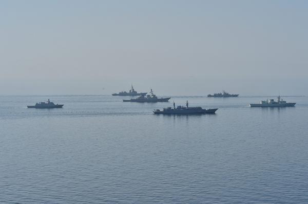 Ships in formation during Sea Breeze | Participants: Ukraine , Georgia, ROMANIA , Turkey , latvia ,USA , NATO