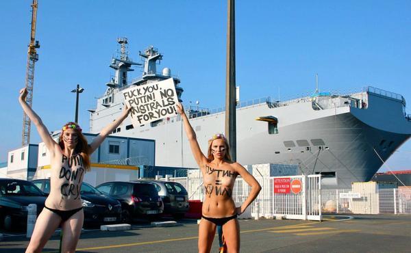 Femen protests against Mistral transfer to Putin