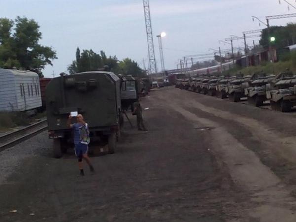 Tanks deployed in Train Station Kamenskaya/Rostov Region