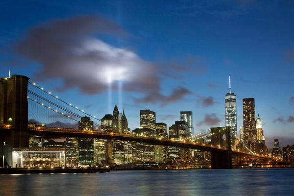 Remember. Two beams of light mark 9/11 anniversary