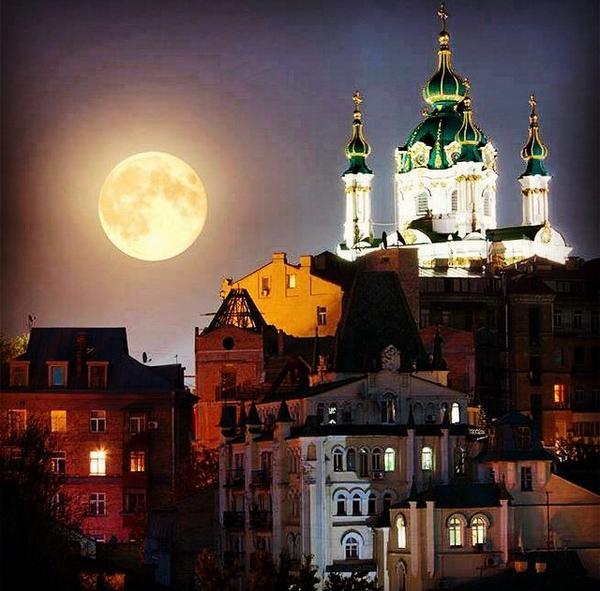 Moon in beautiful Kyiv