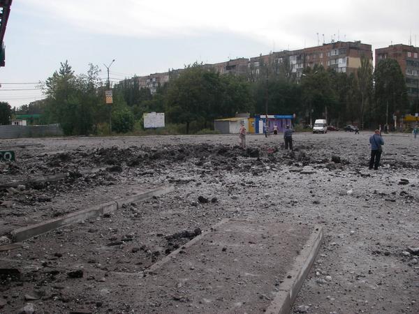 Bus station in Hanzhenkove Makeevka big calibre blast