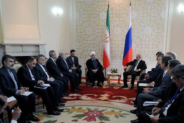 The meeting of Vladimir Putin with President of Iran Hassan, Ruhani