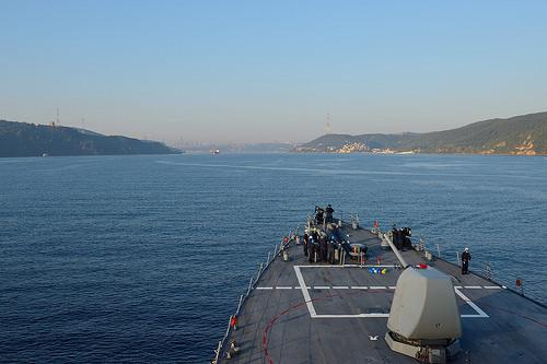 USS Ross departs the Black Sea