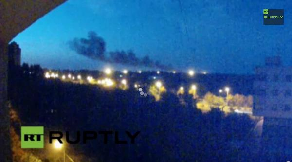 In side of the Donetsk airport something is burning
