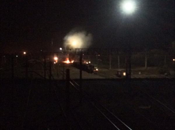 Tank wagon on fire after reported explosion on way into Kharkiv