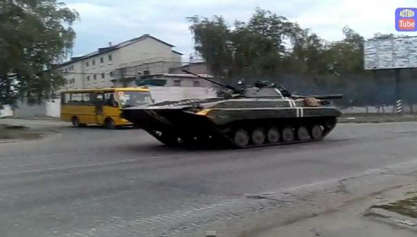 Tank column of Ukrainian army in Luhansk region
