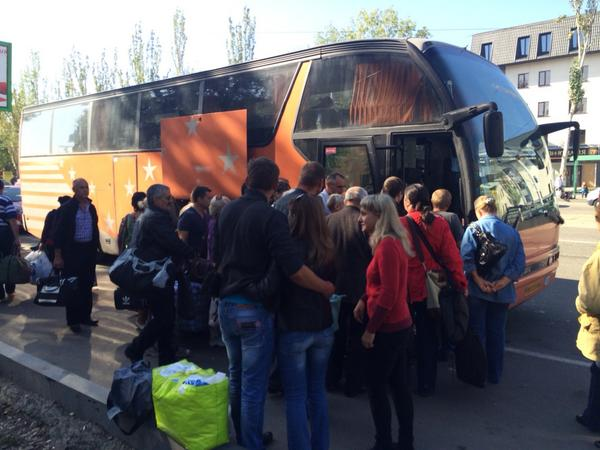 It is city day in Luhansk, but these people are leaving to go to Severodonetsk, in Ukraine-held territory