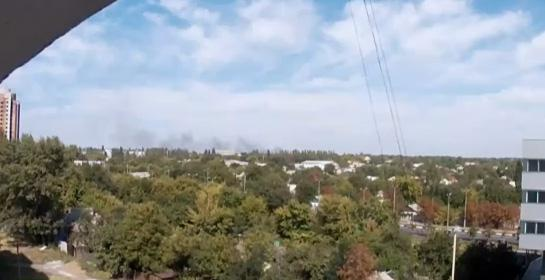 Something is burning near  Donetsk airport