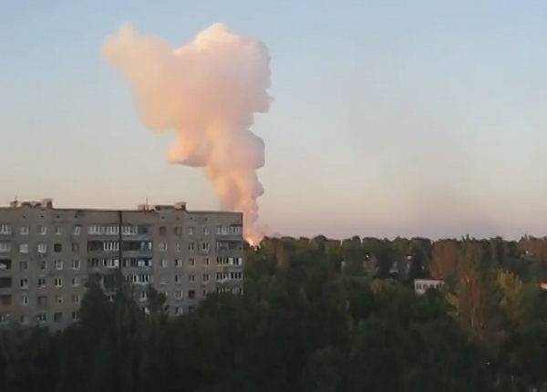 New bright fire burning near Donetsk airport as Russian shelling of the area