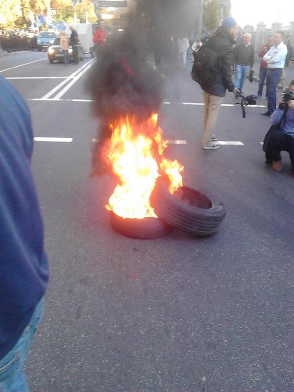 Burning tire near Rada
