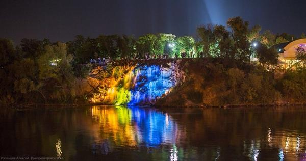 Fountain in Dnipropetrovsk in colors of Ukrainian flag