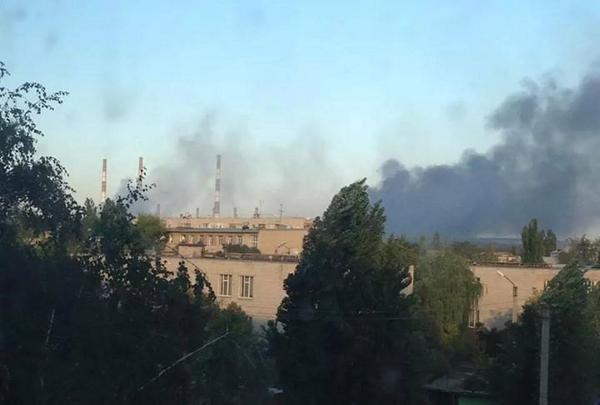 Black smoke from Power station in Schastya. Was blown up