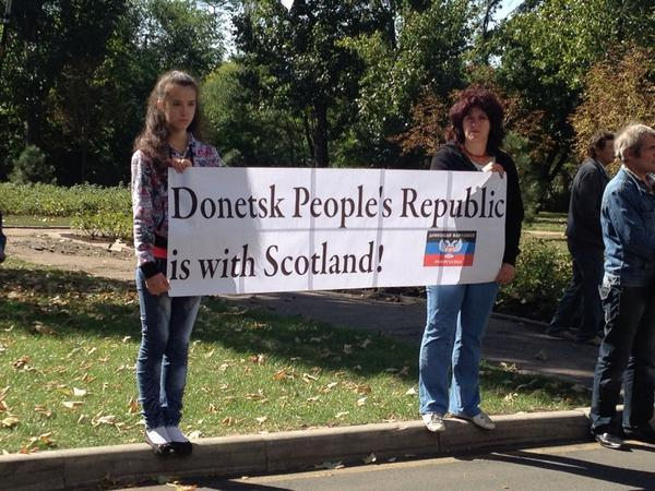 Donetsk People's Republic throwing their weight behind a 'Yes' for Scotland today. Indyref.