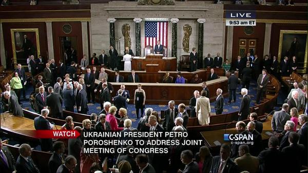 Senators entering House chamber for Ukrainian President  @Poroshenko address